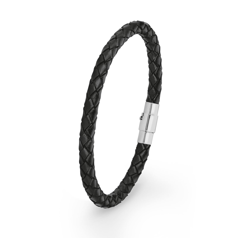 Armband amor Herren-Armband Lederarmband 21 cm schwarz Edelstahl
