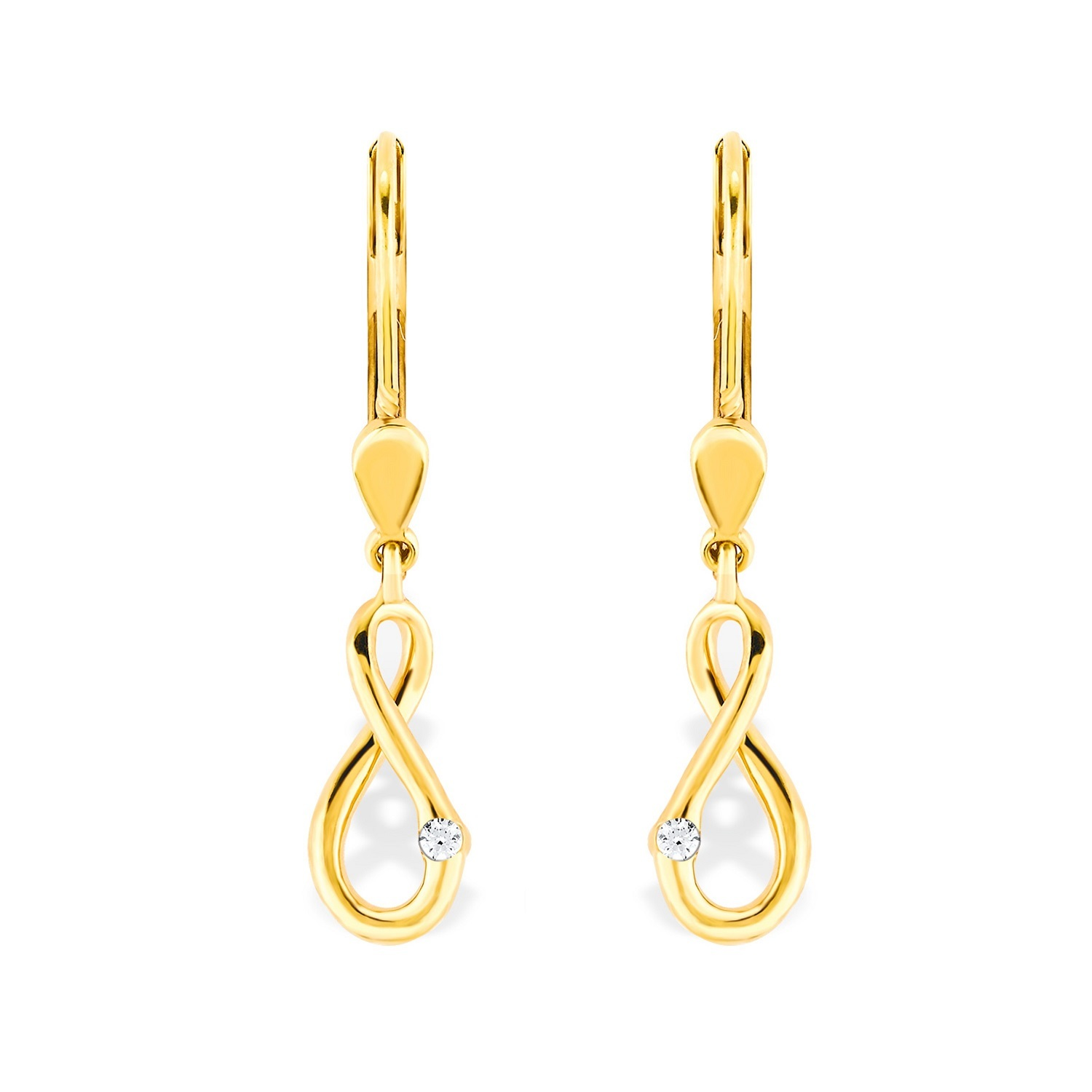 Ohrring Gold 375/9 ct Zirkonia synth. Infinity