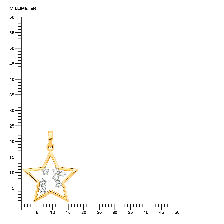 Kette mit Anhänger Gold 375/9 ct, teilrhodiniert Zirkonia synth. Stern