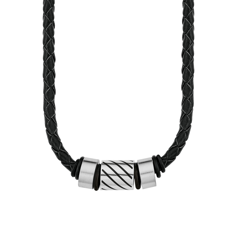 Halsband amor Herren-Kette Lederband 45 cm schwarz geflochten Edelstahl Beads
