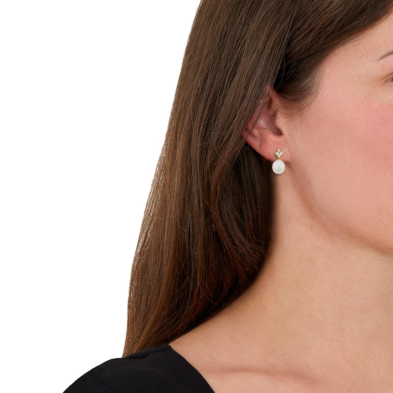 Ohrhänger für Damen, Gold 585, Zirkonia Süßwasserzuchtperle Blatt