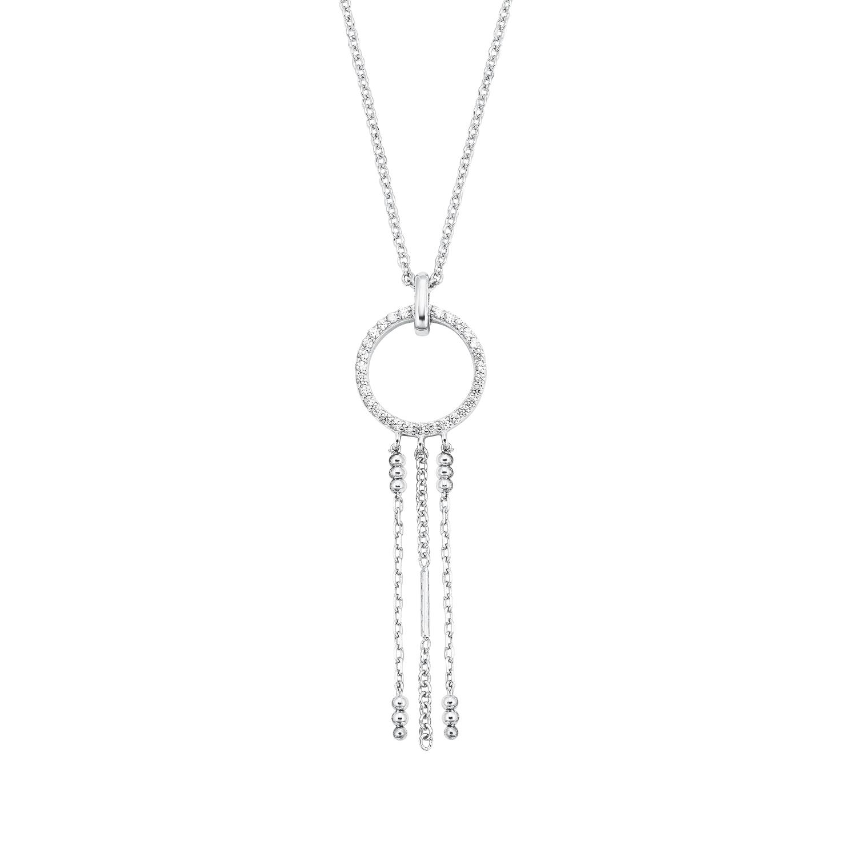 Kette mit Anhänger für Damen, Sterling Silber 925, Zirkonia Kreis