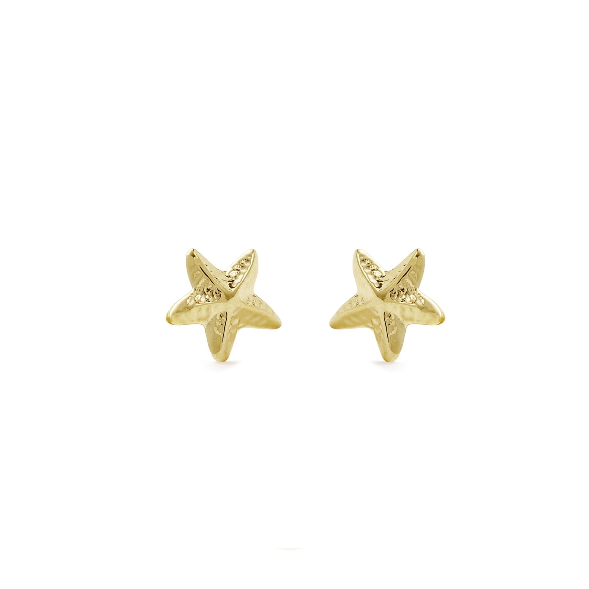 Ohrstecker für Kinder Mädchen, Gold 375, Seestern