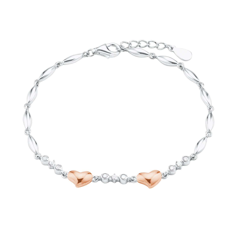 Armband für Damen, Sterling Silber 925, Zirkonia Herz