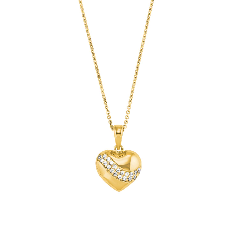 Kette mit Anhänger Silber 925, gelbvergoldet Zirkonia synth. Herz