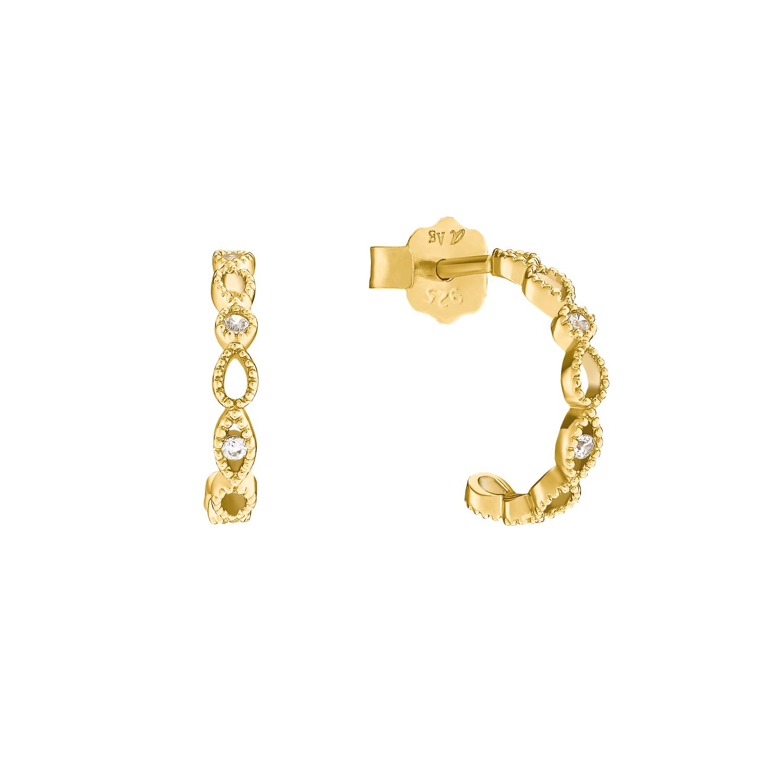 Creolen für Damen, Sterling Silber 925 vergoldet mit Zirkonia