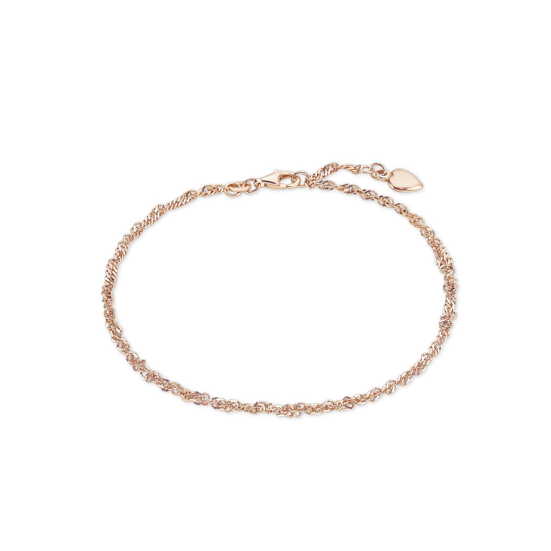 Fußkette für Damen Singapur Herz 925 Silber rosévergoldet