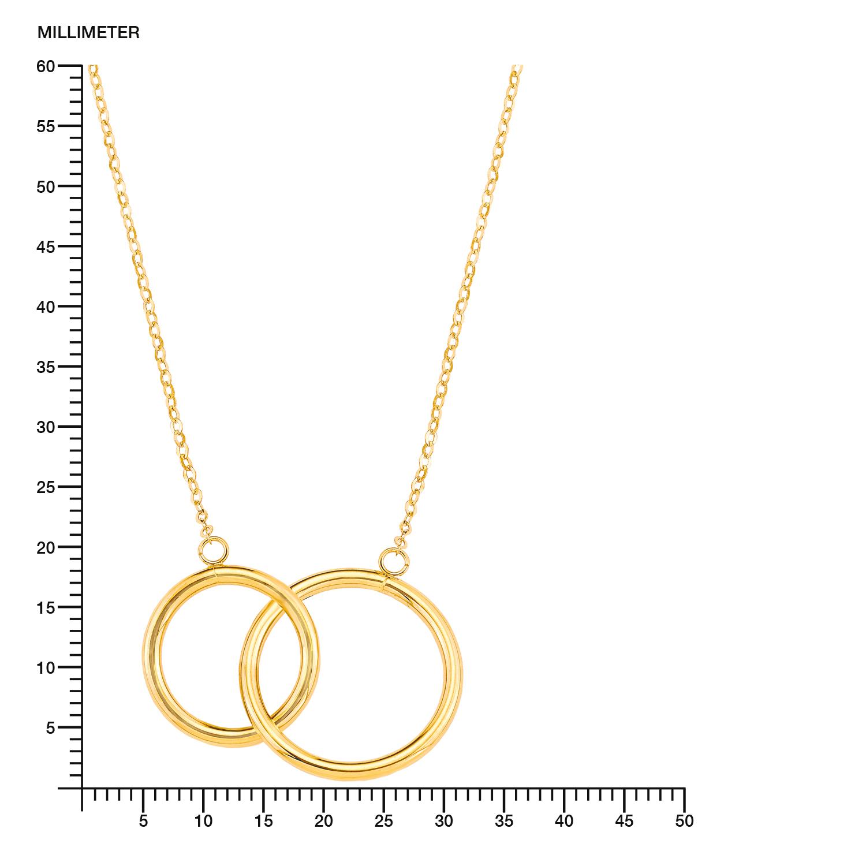 Kette mit Anhänger für Damen 42+3 cm mit Anhänger Kreise Ringe 375 Gelbgold