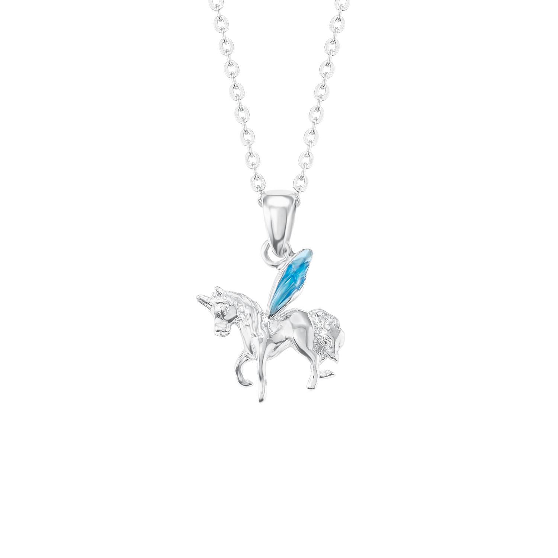 Kette mit Anhänger für Mädchen 35+3 cm längenverstellbar mit Anhänger Einhorn  925 Sterling Silber emailliert blau