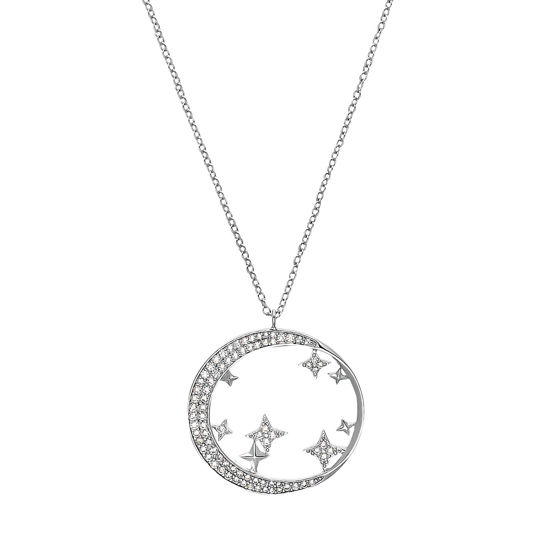 Kette mit Anhänger für Damen, Sterling Silber 925 rhodiniert, Zirkonia  Mond/Sterne