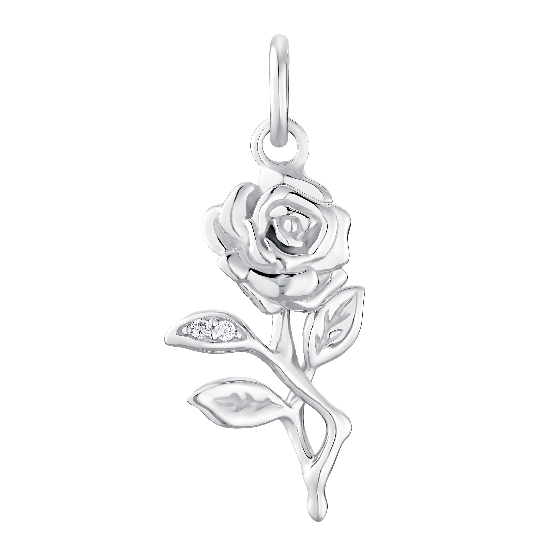 SILVER ROSE Anhänger Silber 925, rhodiniert Zirkonia synth. Rose