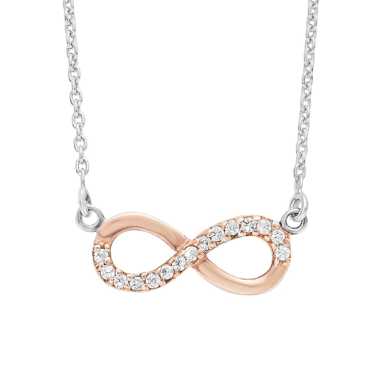 Kette mit Anhänger für Damen 45 cm mit Infinity 925 Silber teil-rosévergoldet Zirkonia weiß