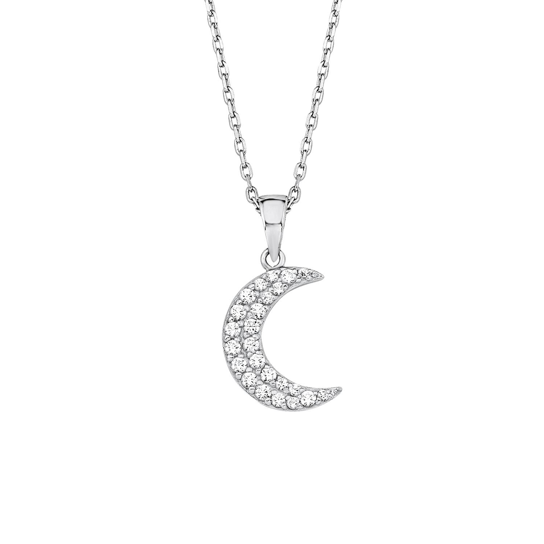 Kette mit Anhänger für Damen, Sterling Silber 925, Zirkonia Mond