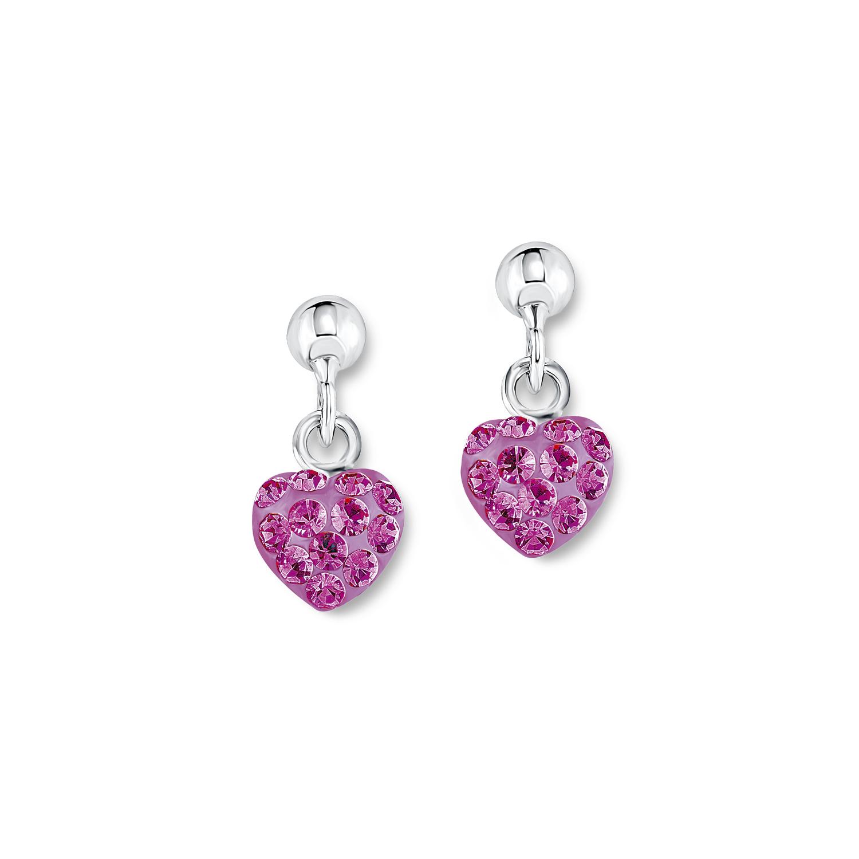 Ohrring für Mädchen Ohrhänger Herzen 925 Sterling Silber Kristall pink