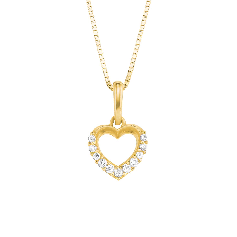 Kette mit Anhänger für Damen, Gold 375, Zirkonia Herz