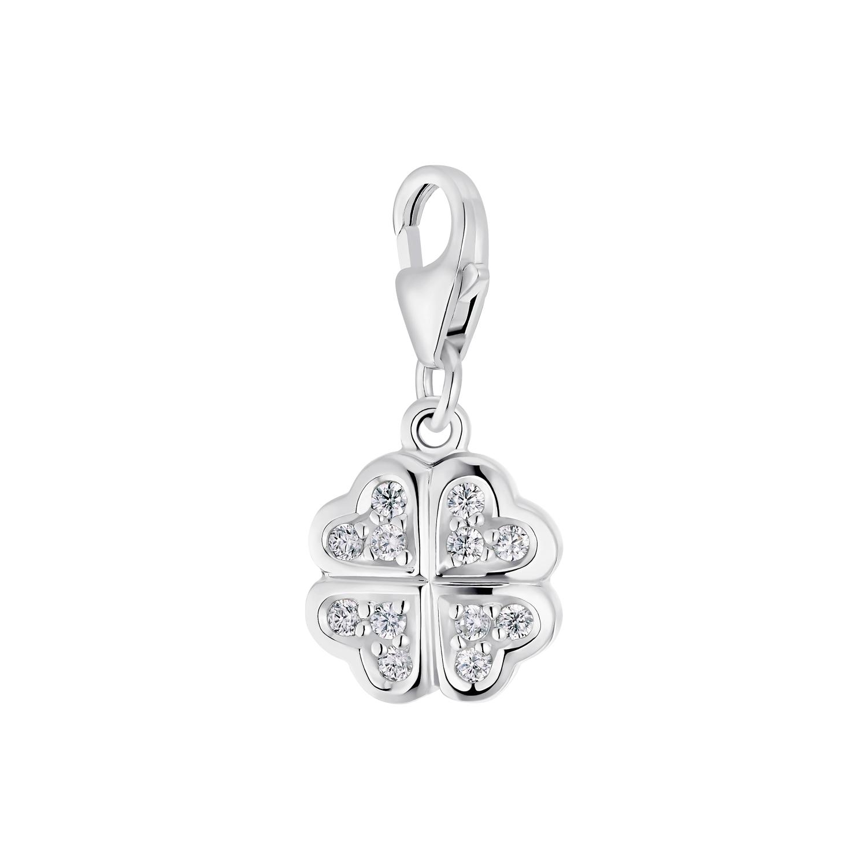 Charm für Damen, 925 Sterling  Silber  Zirkonia   Kleeblatt