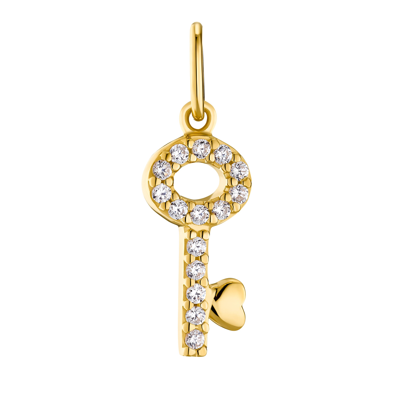 GOLDEN KEY Anhänger für Damen, Sterling Silber 925, Zirkonia Schlüssel