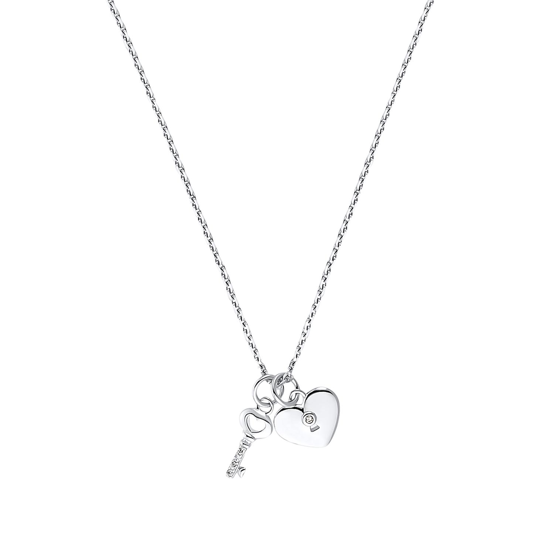 KEY & HEART Kette mit Anhänger Unisex, Sterling Silber 925, Zirkonia Schlüssel