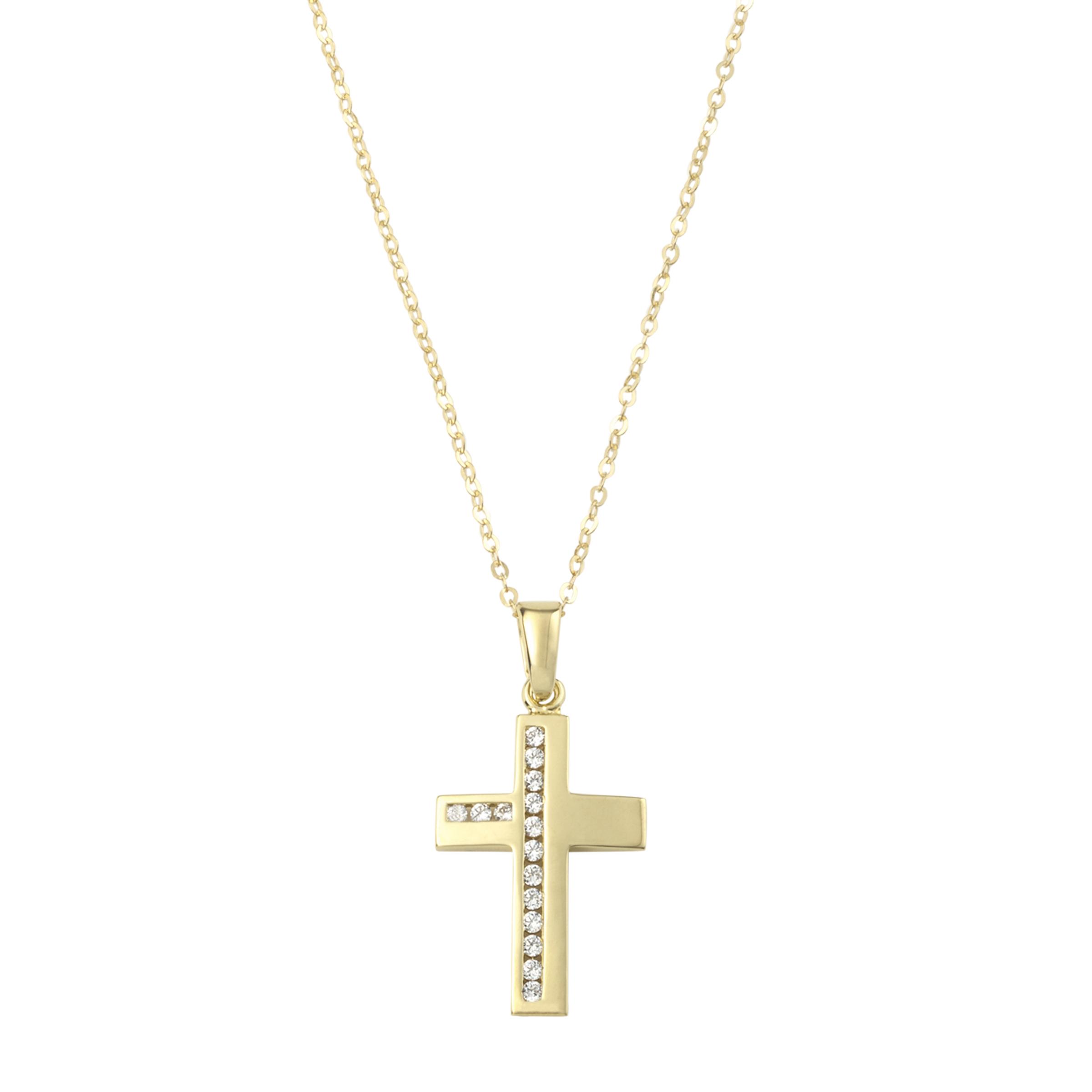 Kette mit Anhänger für Damen, Gold 375, Zirkonia Kreuz