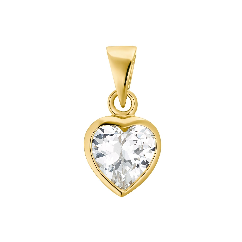 Motivanhänger für Damen, 375 Gold Zirkonia   Herz