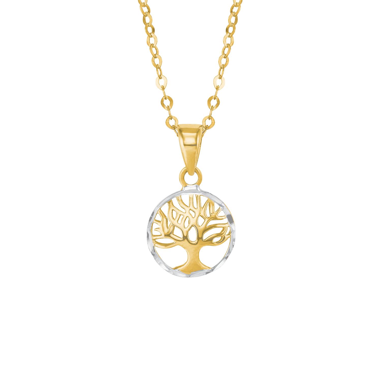 Kette mit Anhänger für Damen, Gold 585, Lebensbaum
