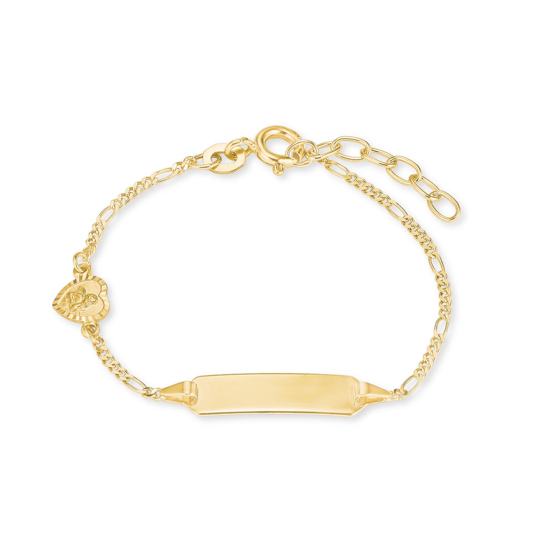Identarmband für Mädchen, Gold 375, Engel/Herz