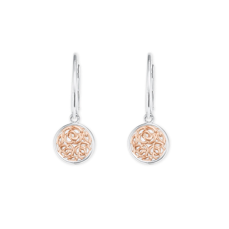 Ohrring Silber 925, rhodiniert+rosévergoldet