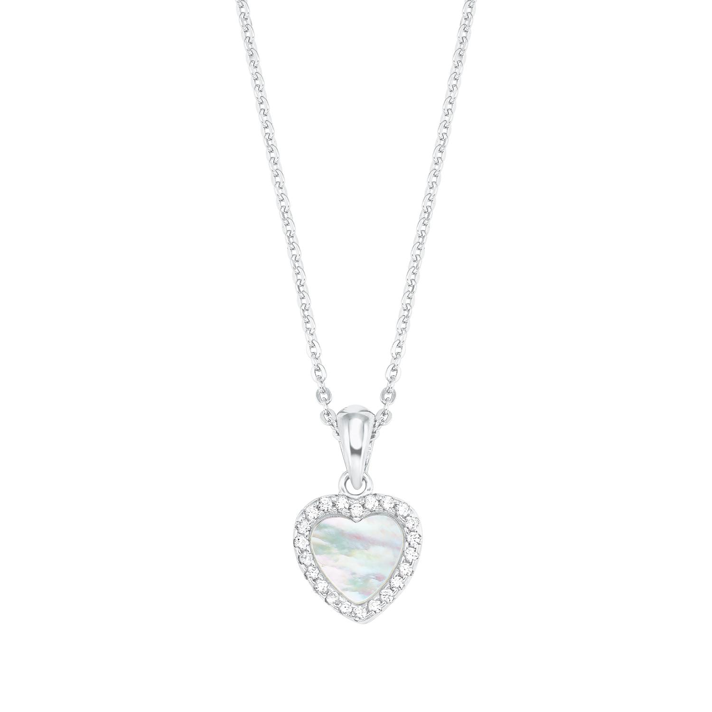 Kette mit Anhänger für Damen mit Perlmutt-Herz-Anhänger, glänzendes Silber 925, Zirkonia