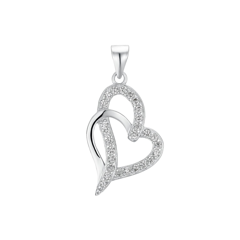 Motivanhänger für Damen, 925 Sterling Silber Zirkonia | Herz