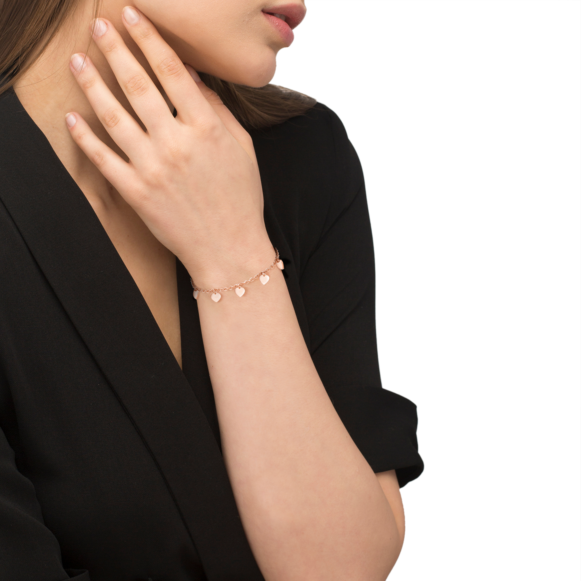 Armkette für Damen, Edelstahl, Herz