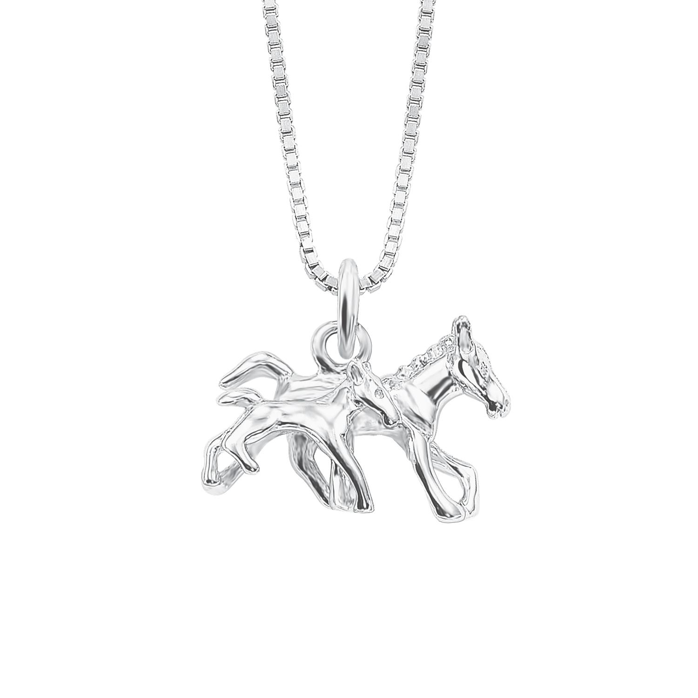 Kette mit Anhänger Silber 925, rhodiniert Pferd