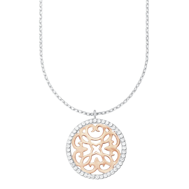 Kette mit Anhänger amor Damen-Kette 42+3 cm mit Anhänger Ornamente Bicolor 925 Silber teil-rosévergoldet Zirkonia weiß