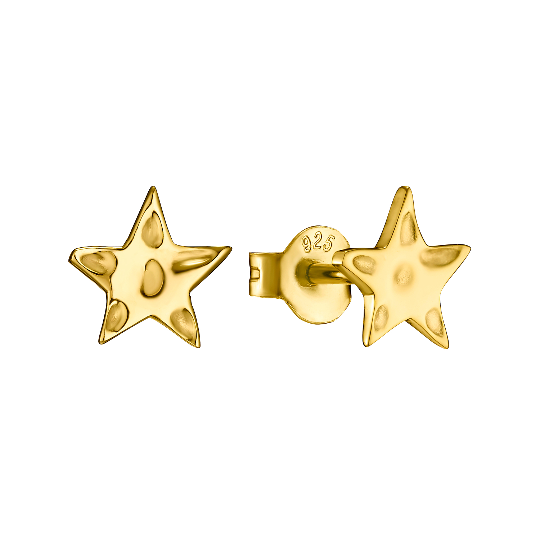 Ohrstecker Silber 925, gelbvergoldet Stern