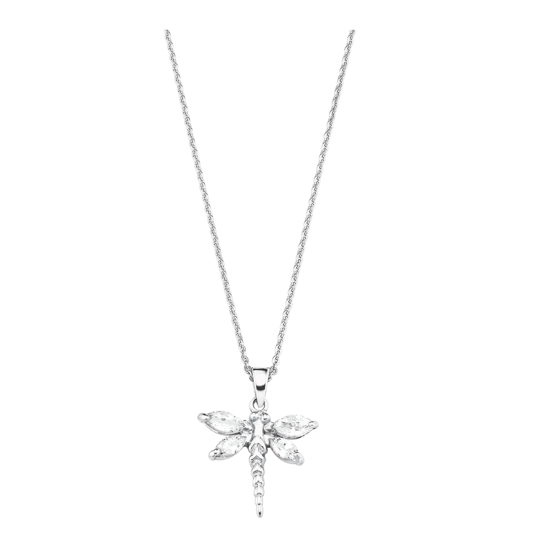 Kette mit Anhänger Silber 925, rhodiniert Zirkonia synth. Libelle