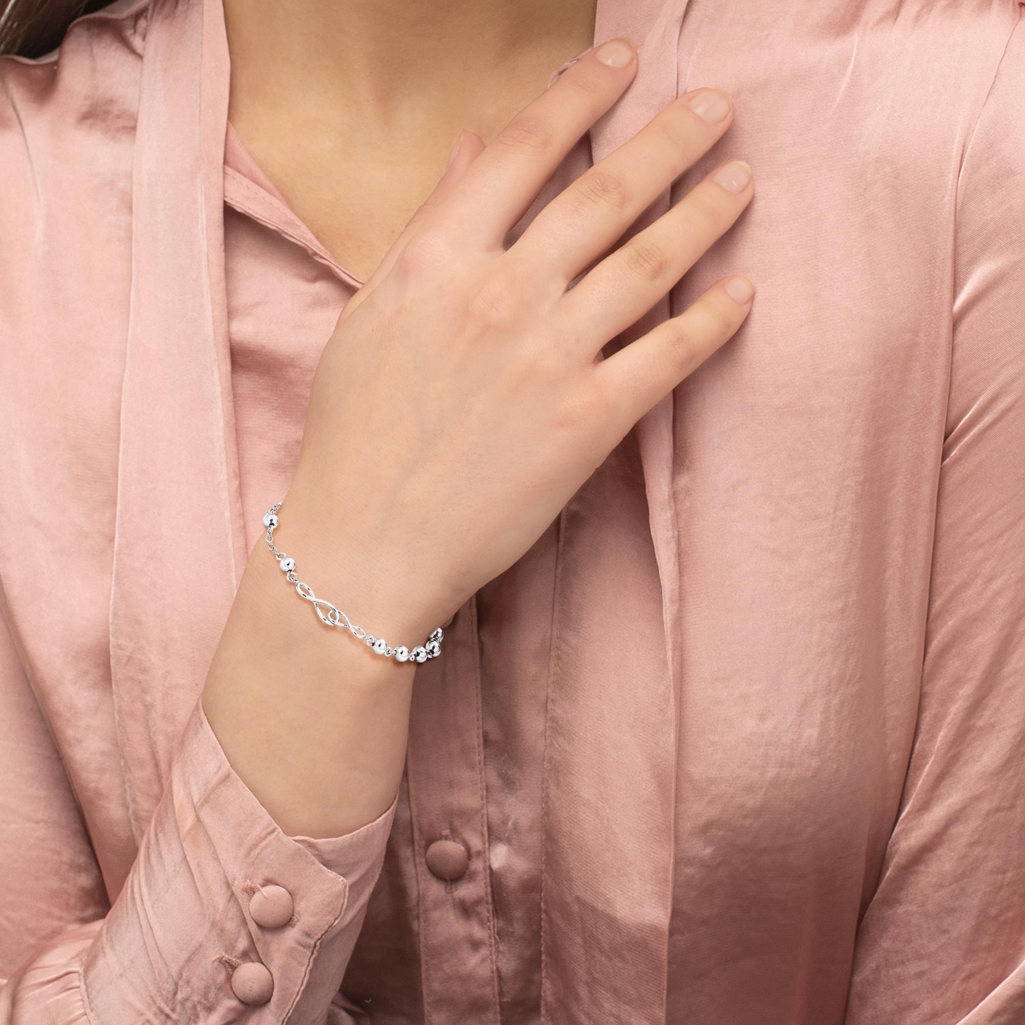 Armkette Silber 925, rhodiniert Infinity