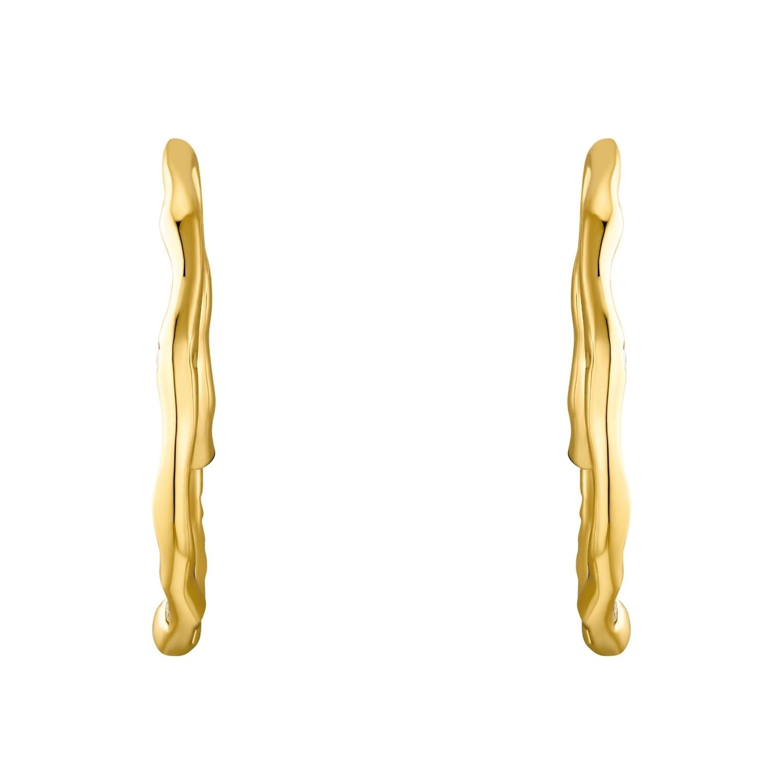 Creolen für Damen, Sterling Silber 925 vergoldet, Zirkonia   Mond