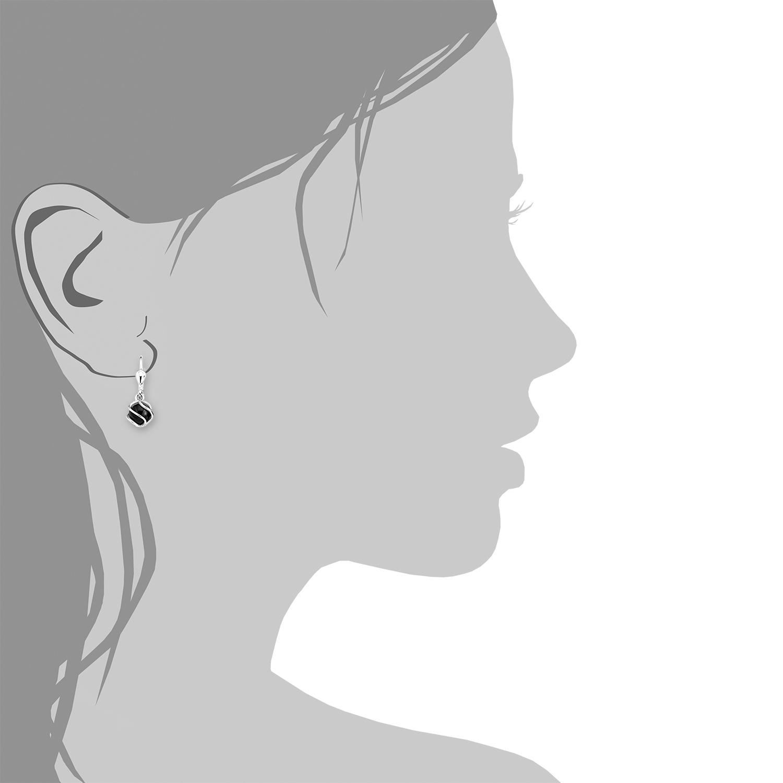 Ohrring für Damen, Sterling Silber 925, Onyx