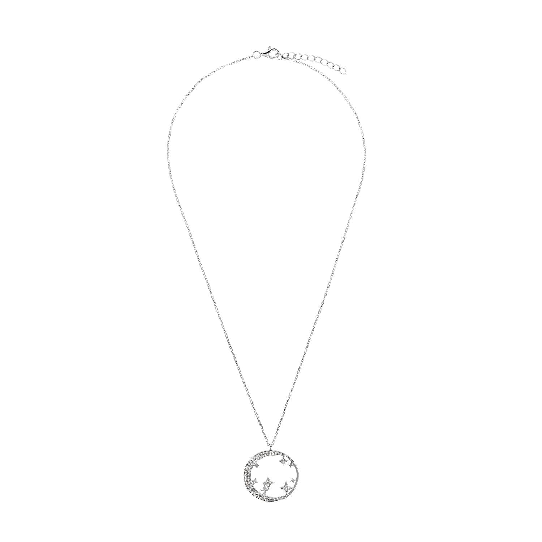 Kette mit Anhänger für Damen, Sterling Silber 925 rhodiniert, Zirkonia |Mond/Sterne