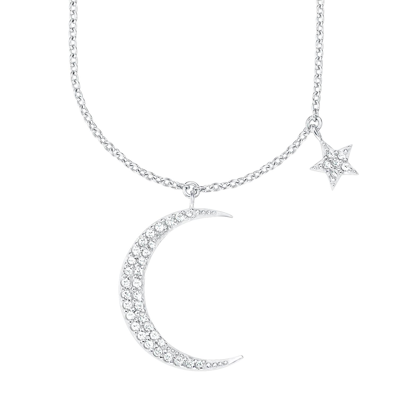 Kette mit Anhänger für Damen, Sterling Silber 925, Zirkonia Mond/Sterne
