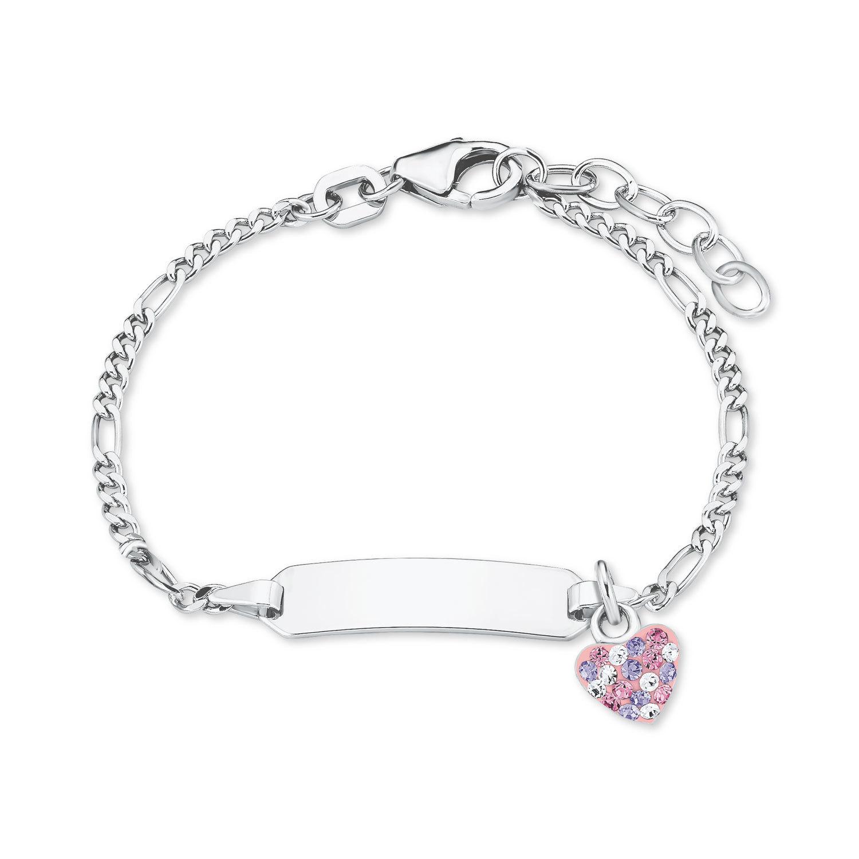 Identarmband für Mädchen, Sterling Silber 925, Preciosa Steine Herz