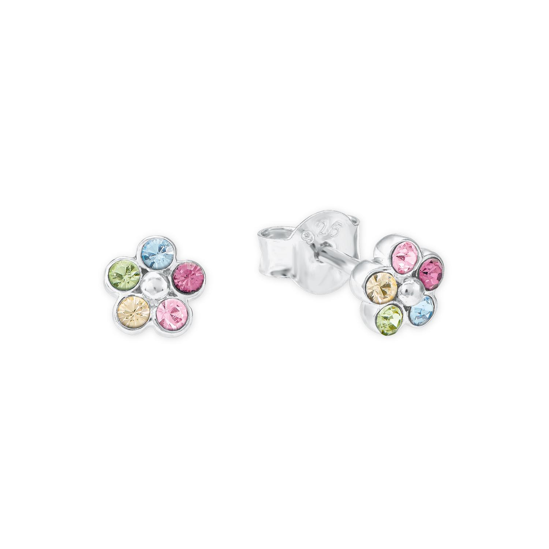 Ohrstecker für Mädchen 5 mm Blume 925 Sterling Silber veredelt mit Kristallen von Swarovski bunt