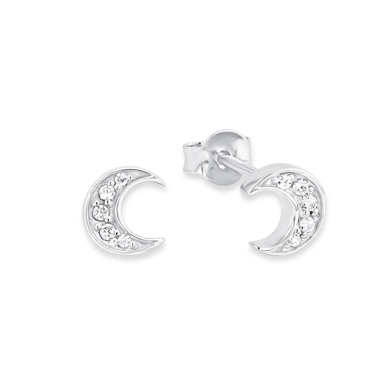 Ohrstecker für Damen, Sterling Silber 925, Zirkonia Halbmond