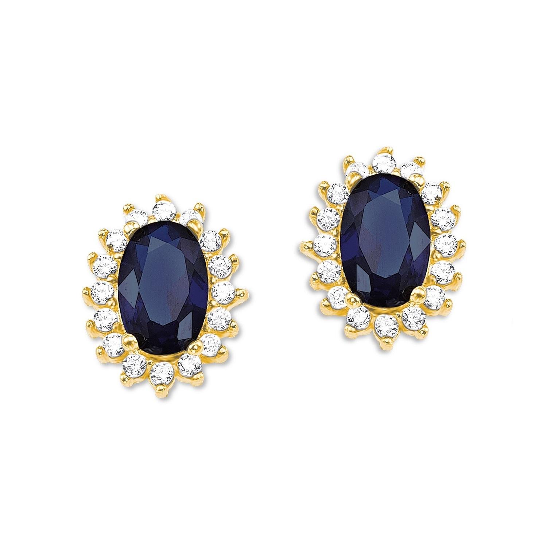 Ohrstecker für Damen 375 Gold Zirkonia blau weiß