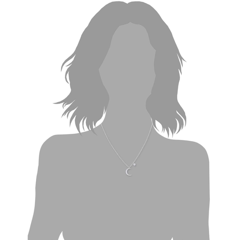 Kette mit Anhänger für Damen 45+5 cm mit Anhänger Mond Stern 925 Silber rhodiniert Zirkonia weiß