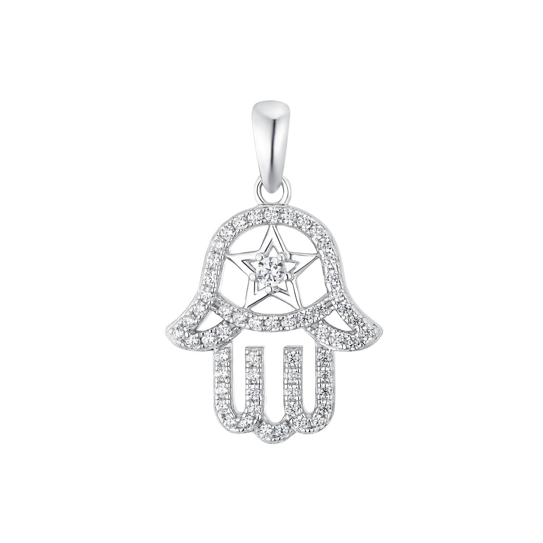 Motivanhänger für Damen, 925 Sterling Silber Zirkonia   Hamsa Hand