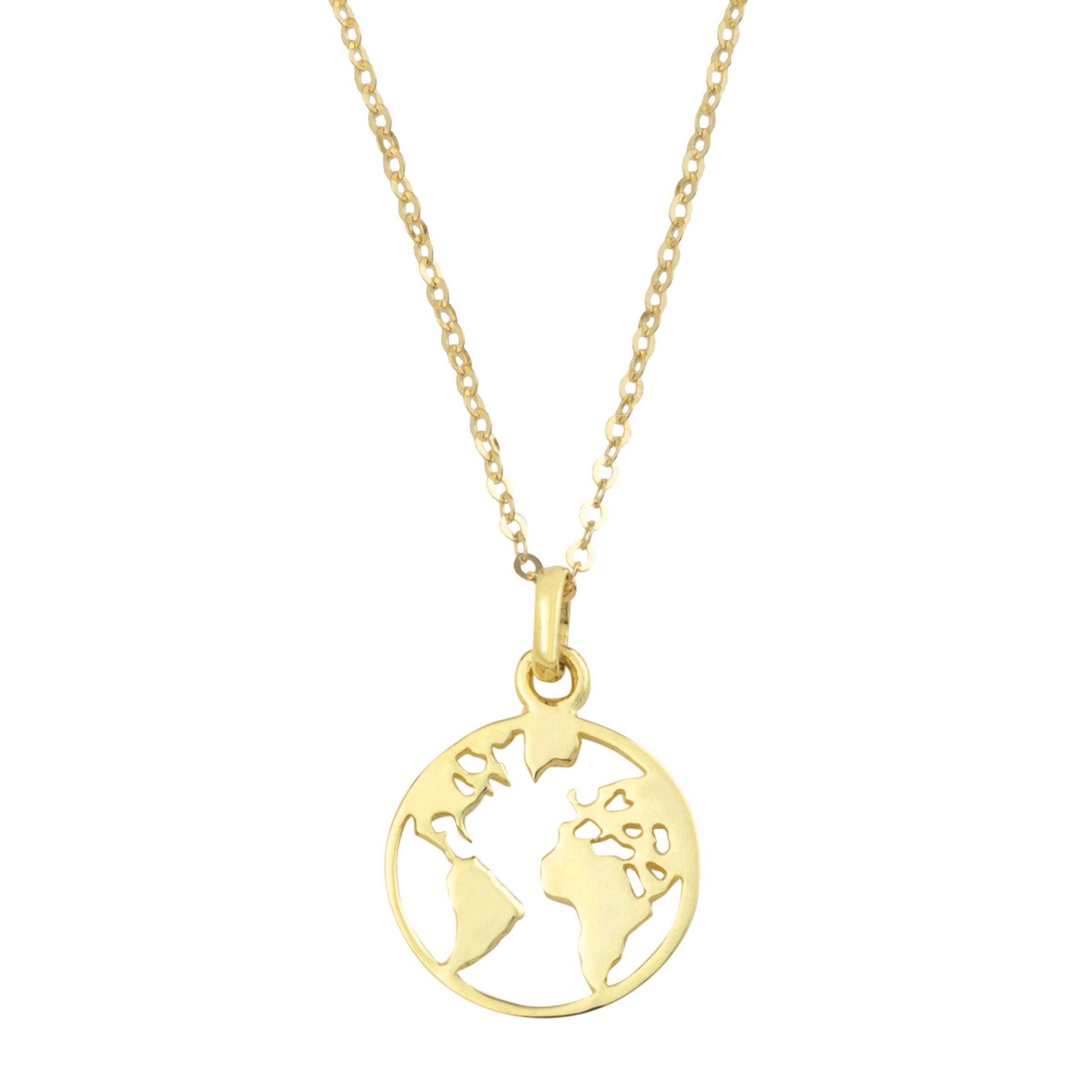Kette mit Anhänger für Damen, Gold 375, Weltkugel