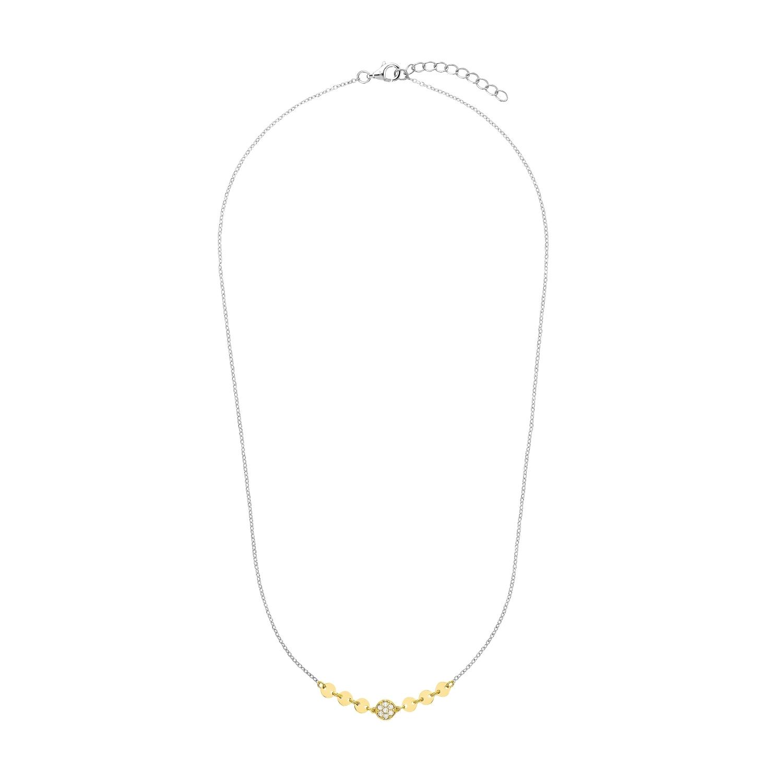 Kette mit Anhänger für Damen, Sterling Silber 925 teilvergoldet, Zirkonia
