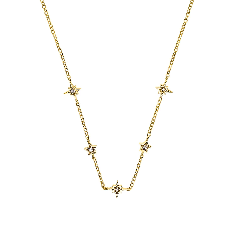 Kette mit Anhänger für Damen, Sterling Silber 925 vergoldet, Zirkonia | Stern
