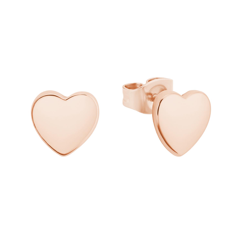 Ohrstecker für Damen, Silber 925 rosévergoldet, Herz