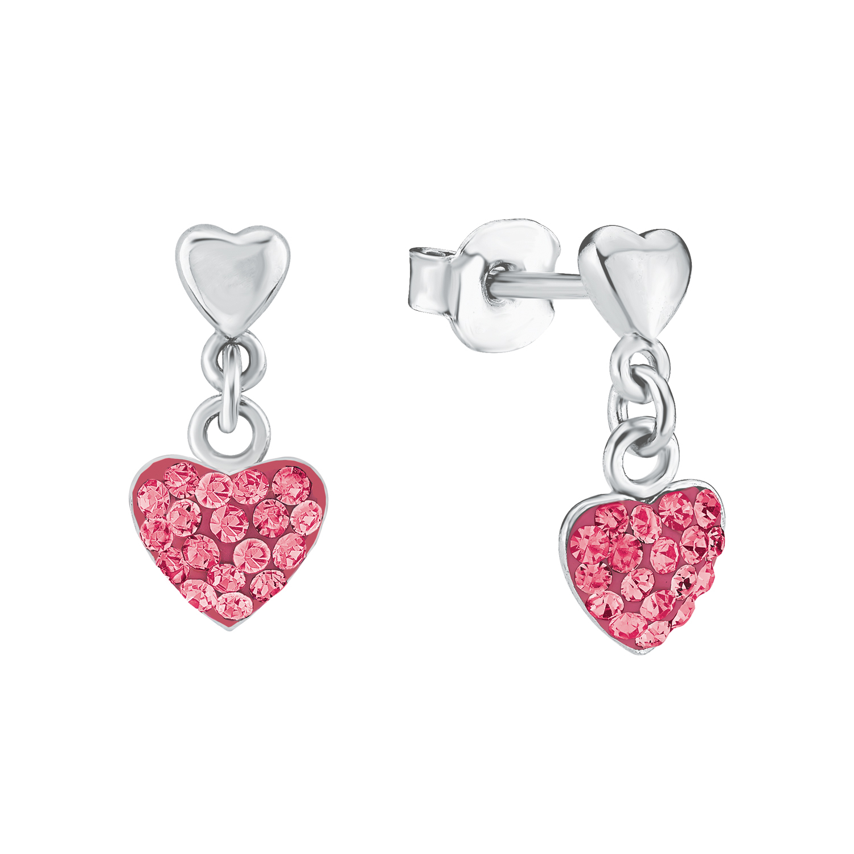 Ohrhänger für Mädchen, Sterling Silber 925, Preciosa Steine Herz